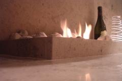 Flamdekoration i skräddarsydd spis, privat